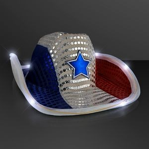 Red White & Blue LED Cowboy Hat
